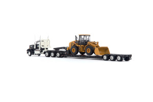 KENWORTH W900 and Trail King Lowboy with Cat 950H Wheel Loader 55208
